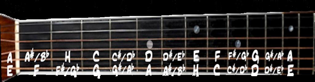 tonerne på gribebrættet øverste strenge guitar
