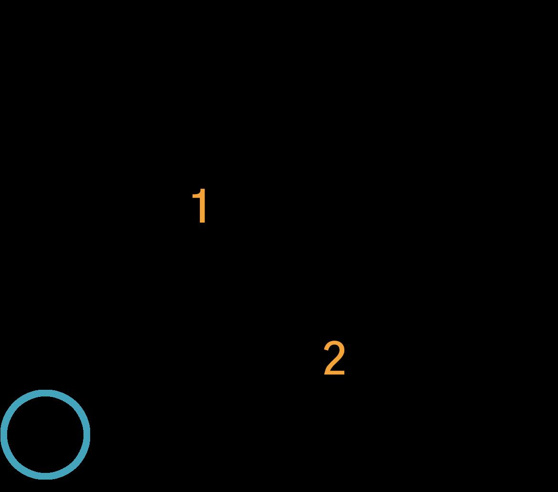 Grafik af hvordan man tager en E7 akkord på guitar